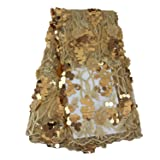 Aisunne African Lace Fabrics 5 Yards Nigerian French Lace Fabric White with 3D Flower Fashion Embroidered Beading and Sequin for Wedding Party Dresses (Gold) (Color: Gold)