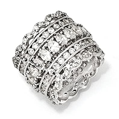 IceCarats Designer Jewellery Size N 1/2 Cheryl M Sterling Silver Cz Ring