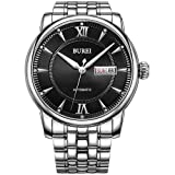 BUREI Men's Automatic Watch with Day and Date Black Dial Metal Band (Color: black-silver-1, Tamaño: Band Length:19.0cm; Band Width: 2.2cm)