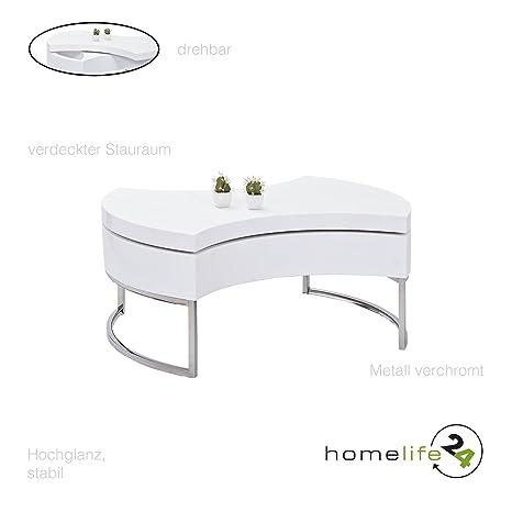 Moderner Couchtisch hochglanz rund weiß mit Platz furs Aufräumen