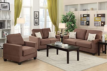 3-Pcs Sofa Set Upholstered in Peat Colored Microsuede by Poundex