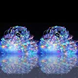 woohaha Solar String Lights, 2 Packs 100 LED Copper Wire Lights, Waterproof Fairy Decoration Starry String Lights - 8 Modes, Indoor/Outdoor for Gardens, Patios, Homes, Parties, Multi Color
