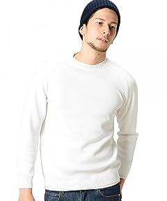 Middle Gauge Cotton Crewneck Sweater 1213-105-3073: White
