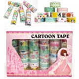Box of 60 Rolls Cartoon Design Washi Tapes Set,Decorative Masking Washi Tapes Adhesive Scrap Booking Sticker School/Party Supplies DIY Arts Crafts Decoration and Kid Gifts