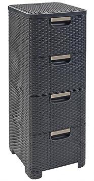 curver regal 4 schubladen dunkelgrau schubladenregal korbregal kommode schubladenschrank rattan. Black Bedroom Furniture Sets. Home Design Ideas