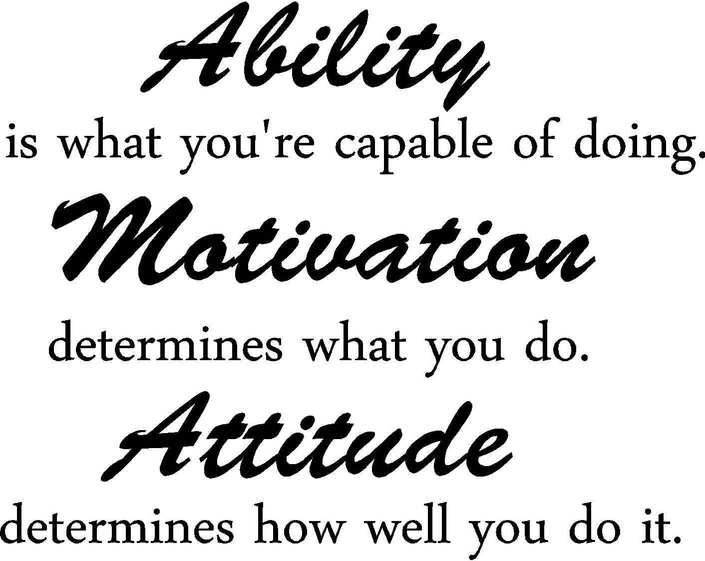Ability is what you're capable of doing. inspirational wall quotes sayings vinyl decals art