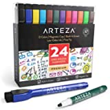 ARTEZA Magnetic Dry Erase Markers with Eraser, Pack of 24 (with Fine Tip), 12 Assorted Colors with Low-Odor Ink, Whiteboard Pens is perfect for School, Office, or Home (Color: Magnetic - Pack of 24)
