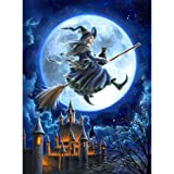 Adarl 5D DIY Diamond Painting Rhinestone Pictures of Crystals Embroidery Kits Arts, Crafts & Sewing Cross Stitch (Witch with Castle)