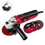 4-1/2-Inch Angle Grinder 6.0-Amp with 3 Abrasive Wheels (Cutting Wheel, Grinding Wheel, Flap Disc) and Auxiliary Handle, Masterworks MW589 (Color: Red & Black, Tamaño: 4-1/2 inch Wheel)