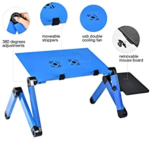 Executive Office Solutions Portable Adjustable Aluminum Laptop Desk with Cooling Fan and Mouse Pad for Couch,Bed and Sofa,Laptop Stand with Cooling Fan Foldable Laptop Table (Color: Dark Blue)
