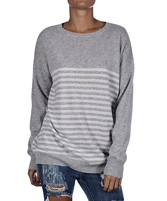 Women's One Teaspoon Grey Striped Rock N Roll Cashmere Knit