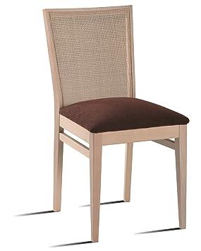 Silla de comedor casablanca madera rejilla y tapizado for Sillas comedor amazon
