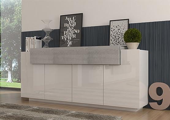 Biella. Credenza madia moderna molto capiente.Colore design bianco e rovere grigio.Dimensioni in cm. (LPH) 200x45x85. Made in Italy.