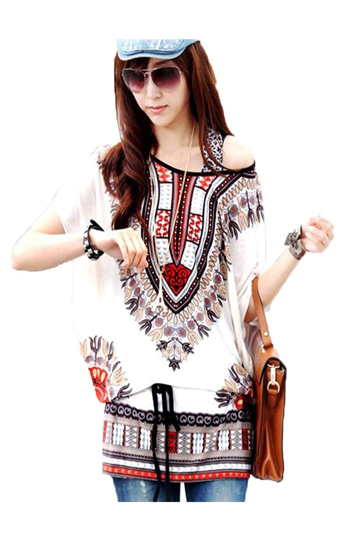 eshion Ladies Womens Casual Loose Batwing Sleeve Print Tunic Blouse Shirt Tops