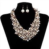 IPINK Fashion Women Big Faux Pearl Multi Strand Chunky Evening Jewelry Set (Color: Gray)