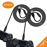 6amLifestyle PS4 Controller Charging Cable 2 Pack / 10FT, Charge and Play, Micro USB Charger High Speed Data Sync Cord for Sony Playstation 4 PS4 Slim/Pro Controller, Xbox One S/X Controller, Android (Color: Black)