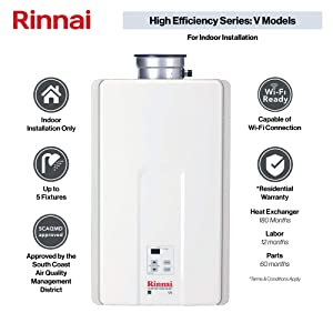 Rinnai V Series HE Tankless Hot Water Heater: Indoor Installation (Color: V75iN - Natural Gas/7.5 GPM, Tamaño: Large)