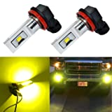 Alla Lighting H11 LED Fog Lights Super Bright 3000 Lumens High Power CSP SMD LED H11 3000K H11LL H8LL H8 H16 H11 LED Bulb H11 Yellow Fog Lights Lamp Bulbs Replacement w/Projector (Set of 2) (Color: Gold Yellow, Tamaño: H11 / H8 / H16)