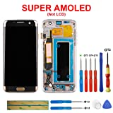 swark Super AMOLED Compatible with Samsung Galaxy S7 Edge G935A G935V G935P G935T G935F LCD Touch Screen Display with Frame + Tools (Gold)(US Version) (Color: S7 Edge Gold+Frame)