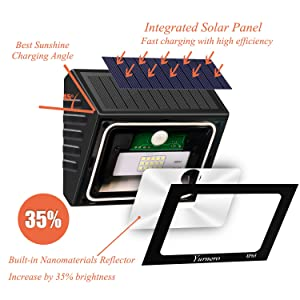 Solar Lights Outdoor Motion Sensor Yurnero Super Bright LED Solar Powered Flood Lights with Nanomaterial Reflector for Step Deck Backyard Front Door Waterproof 2 Pack (Color: Black)