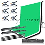 Emart Portable Photo Studio 9.2x10ft Background Support System with 3 Color Muslin Backdrops (Green Black White, 10ft X 12ft) for Portrait, Product Photography and Video Shooting (Color: Black, Tamaño: 9.2x10ft Backdrop Stand with 10x12ft Backdrops)