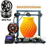 CR-10 S5 Creality 3D Printing Printer/Desktop DIY Kits with Upgrade V2.1 Version Board/Filament Sensor/Dual Z Axis/Resume Off/Heater Bed /2KG PLA Filament 1.75mm (Largest Build Size 500x500x500mm) (Color: Blue, Tamaño: 500*500*500mm (19.8*19.8*19.8