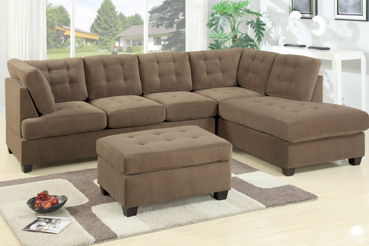 2 pc Truffle waffle suede fabric upholstered reversible sectional sofa with chaise lounger