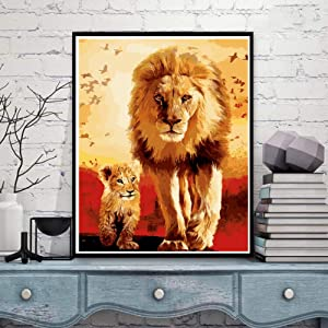 Paint by Number Kits on Canvas, Komking Adult Paint by Numbers with Frame, DIY Art Craft for Home Decor, Lion and Baby 16x20inch (Color: Lion and Baby Framed)