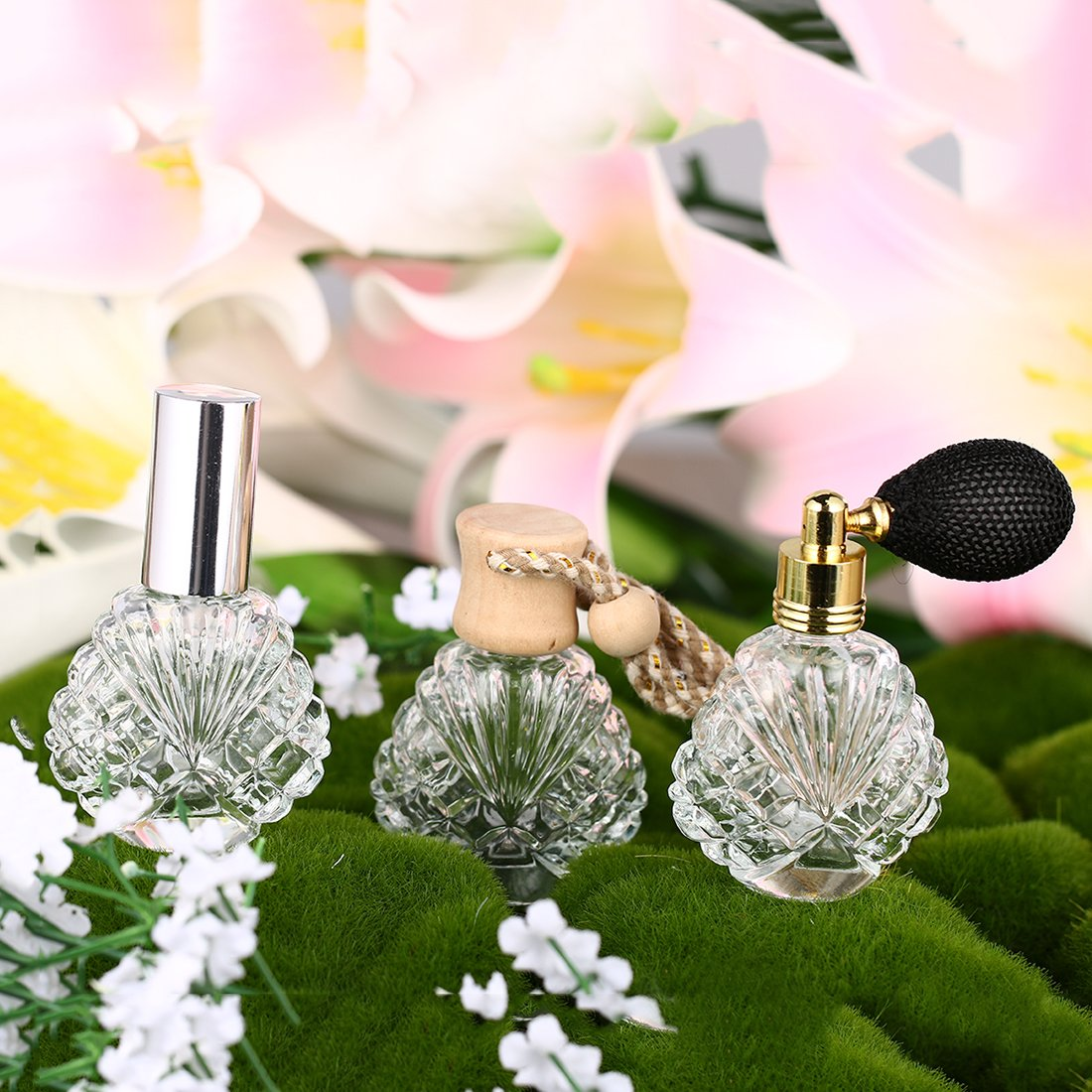H&D Vintage Peacock Shape Glass Empty Perfume Bottles Spray Wedding Gifts Decor Set 3 2