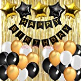 Gold and Black Birthday Party Decorations- Happy Birthday Banner, Gold Foil Fringe Curtains, Star Foil Balloons Latex Balloons for 18th 20th 30th 40th 50th 60th 70th 80th Birthday Party Supplies (Color: Black gold white color mix)