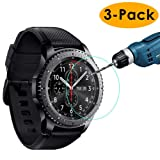 KIMILAR [3-Pack] Compatible Samsung Gear S3 Screen Protector, Waterproof Tempered Glass Screen Protector Compatible Gear S3 Smartwatch, [9H Hardness] [Crystal Clear] [Scratch Resist] [No-Bubble] (Color: 3-packs)