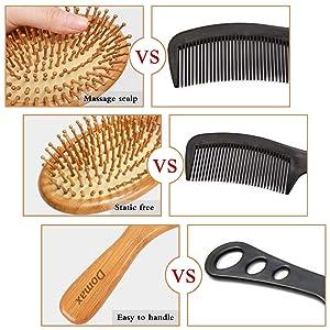 Hair Brush - with Bamboo Bristles Detangle Massage Scalp For Women Men Kids All Hair Types