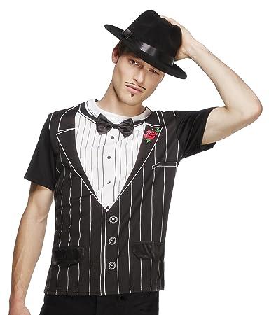 Smiffys Déguisement Homme, T-shirt de gangster Fever, Taille M, Couleur: Noir et blanc, 34154