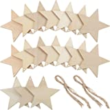Tatuo 50 Pieces Wooden Star Cutouts Christmas Star Wooden Ornaments Hanging Ornaments with Ropes for Embellishments, Wedding, DIY, Craft, Festival (Color: 50 Pieces)