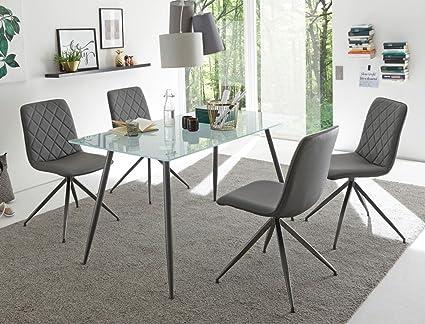 Tischgruppe Glastisch Karin sandgestrahlt + 4 Stuhle Elina grau Essgruppe Esszimmer Speisezimmer Wohnzimmer Kuche