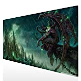 Bimor Extended Gaming Mouse Mat/Pad - Large, Wide (Long) Custom Professional Mousepad, Stitched Edges, Ideal for Desk Cover, Computer Keyboard, PC and Laptop (90x40 Illidan Stormrage14) (Color: 90x40 Illidan Stormrage14)