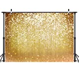 LYWYGG 7x5ft Vinyl Photography Backdrop Gold Particles Speckle Background Dreamy Fantasy Dreamlike theme Metal Festive Holiday Party Decorative Photography Backdrop CP-10 (Color: Gold Particles Speckle, Tamaño: 7*5FT)