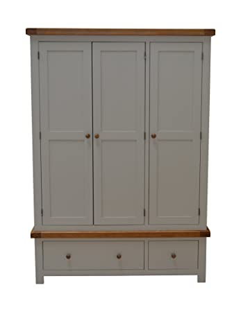 Thornton Painted Oak Large 3 Door Triple Wardrobe In Painted Hardwood With 2 Storage Drawers