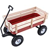 Uenjoy Garden Cart Outdoor All Terrain Pulling Wagon for Kids and Cargo, 330Ibs Red Wood (Color: Red, Tamaño: C 330Ibs)