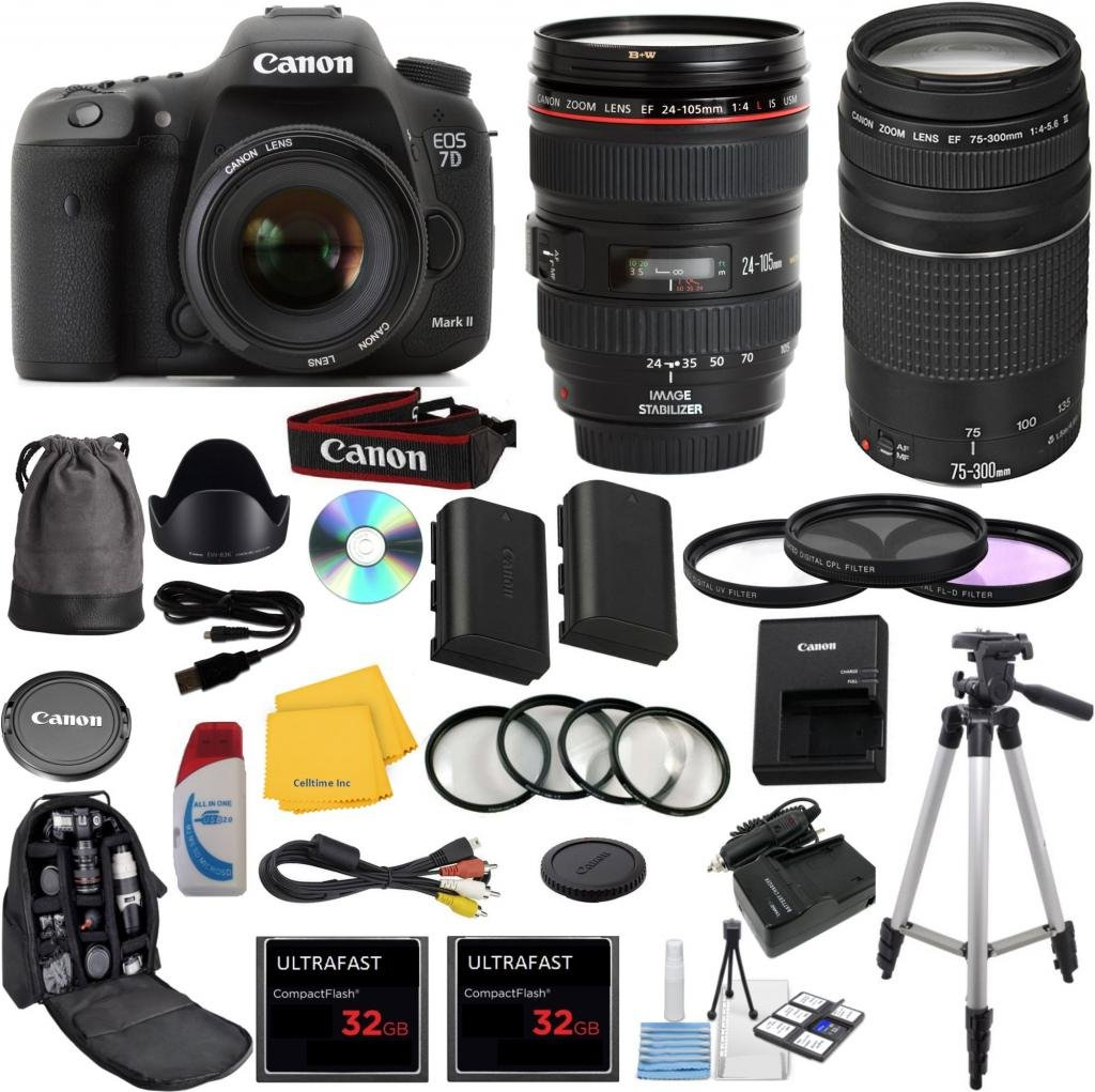 Canon EOS 7D Mark II Digital SLR Camera with EF 24-105mm f/4 L IS USM Lens Celltime Exclusive Bundle with EF 75-300mm f/4-5.6 III Telephoto Zoom Lens  ..