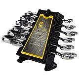 Flexible Pivoting Head Ratchet Gear Wrench Combination Set Chrome 6 Pcs Metric 8/10/12/13/14/17mm