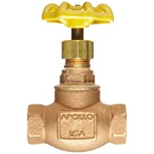 Apollo 121T-LF Series Bronze Globe Valve, Potable Water Service, Class 125, Inline, Threaded Bonnet, Bronze Seat, NPT Female