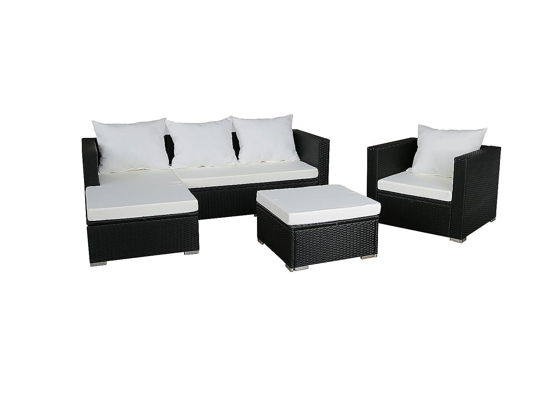 GARTENFREUDE Gartenmöbel Lounge Gartenset Garnitur Sitzgruppe Polyrattan 12-teilig, Aluminiumgestell, schwarz, wetterfest, inklusive Kissen günstig online kaufen