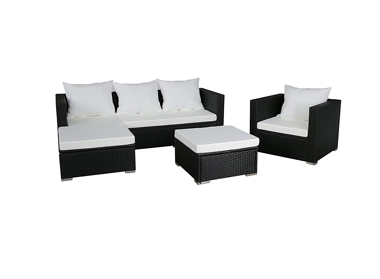 GARTENFREUDE Gartenmöbel Lounge Gartenset Garnitur Sitzgruppe Polyrattan 12-teilig, Aluminiumgestell, schwarz, wetterfest, inklusive Kissen