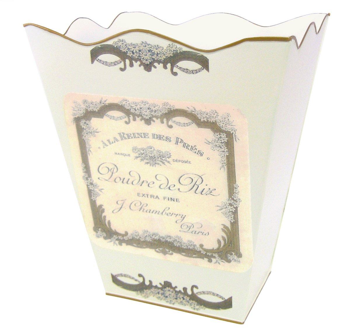 Retro Vintage Wastebasket E13 Trash Can, Trash Bin, Trash Basket ~ Shabby Chic Ivory Enamel with Vintage French Perfume Label. 0