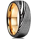 King Will Warriors 8mm Mens Damascus Steel Wedding Ring Gold Plated Innerface Comfort Fit 11.5