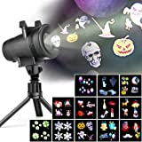 LED Projector Lights with 12 Switchable Patterns for Christmas, Ominilight Waterproof Magicfly Rotating Spotlight for Holiday, Thanksgiving, Birthday, Party, Indoor and Outdoor Decoration Easter Day (Color: 12 Slides)