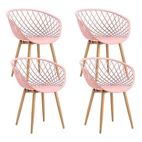 Tango 4Stuck Sessel aus Metall mit Sitzfläche aus PP rosa 57x 63x H81cm