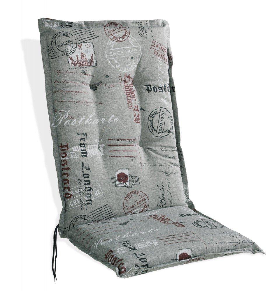 Sesselauflage Polsterauflage grau mit Motivdruck für Hochlehner Postcard