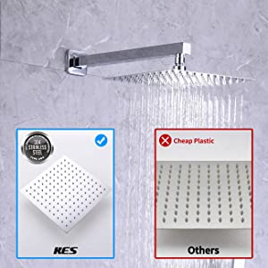 KES Pressure Balancing Rain Shower System Shower Faucet Complete Set Square Polished Chrome (Including Shower Faucet Rough-In Valve Body and Trim), XB6230-CH (Color: Polished Chrome, Tamaño: Square 10 overhead shower+hand shower)